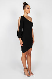 Gisele One Sleeve Mini Dress | Black