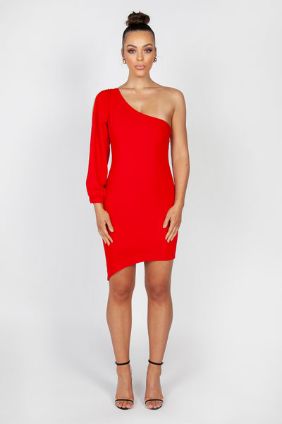 Gisele One Sleeve Mini Dress | Red