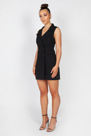 Kourtney Sleeveless Blazer Dress | Black