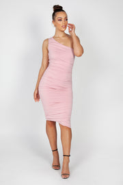 Mila Ruched Midi Dress | Dusty Pink
