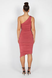 Mila Ruched Midi Dress | Marsala