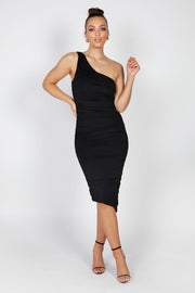 Mila Ruched Midi Dress | Black