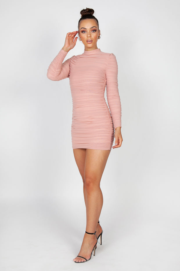 Fleur Ruched Mini Dress | Blush