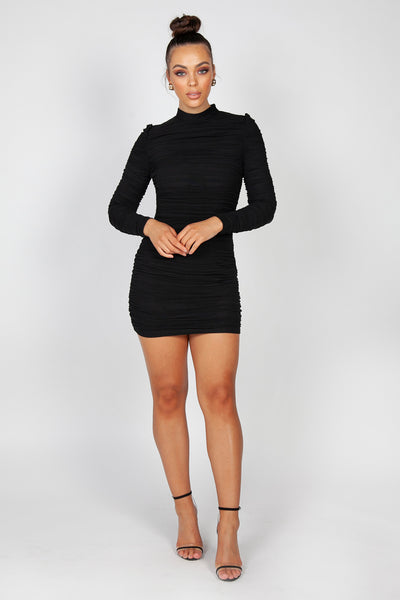 Fleur Ruched Mini Dress | Black