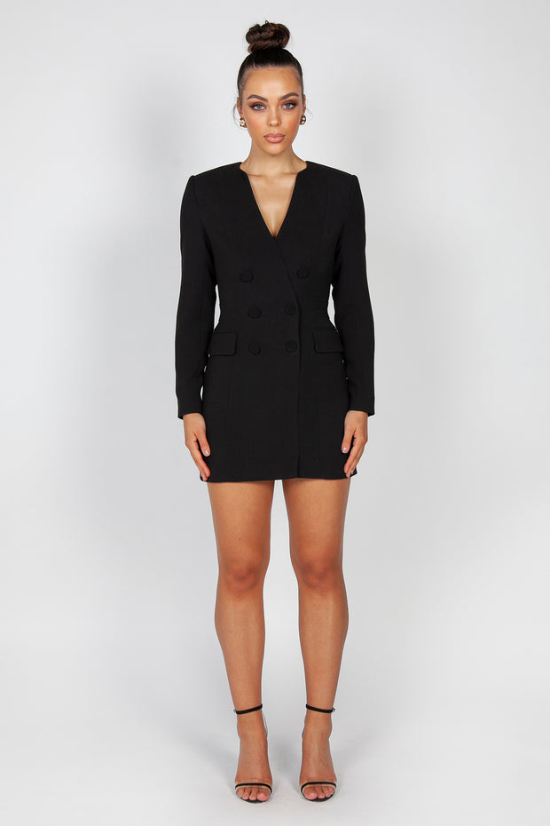 Lavena Blazer Dress | Black