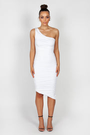 Mila Ruched Midi Dress | White