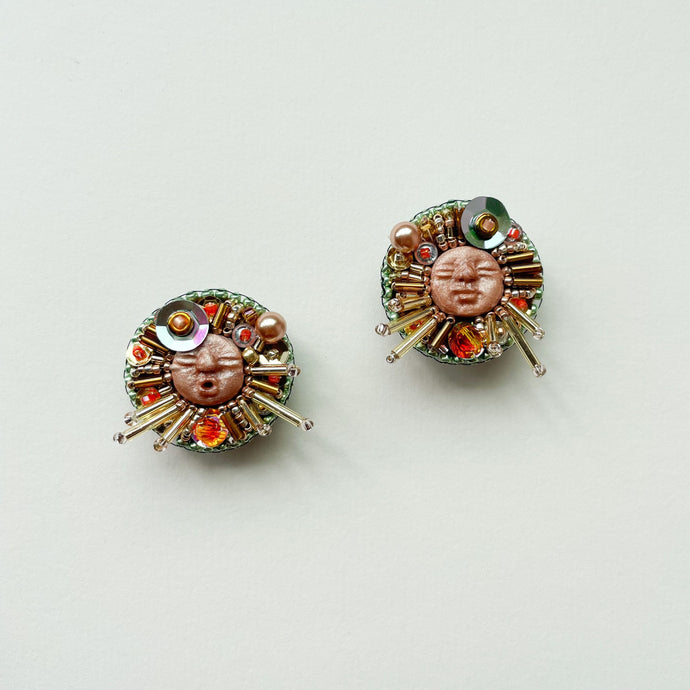 Beadass Medium Studs (Fiery Sunsets & Shiny Green Peas)