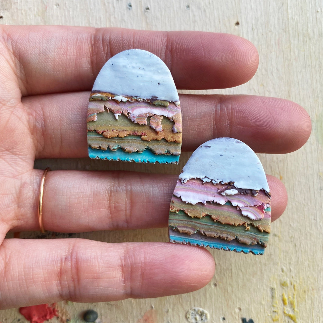 Midi Textured Tac(tile)-Man Statement Studs (I Miss Snow-capped Mountains)
