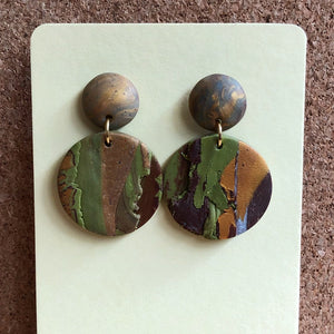Textured Clay Stud Single Dangles (The Matcha-maker)