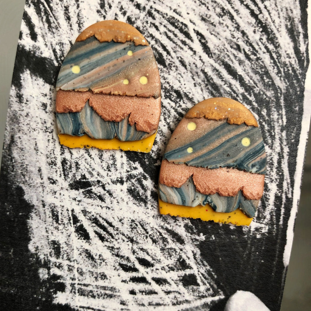 Maxi Textured Tac(tile)-Man Statement Studs (The Alternative Wedding Cake.)