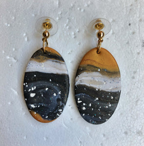 Oval Speckled Marble Superhero Dangles