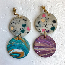 Load image into Gallery viewer, Marble Superheroes with Hearts Statement Dangles