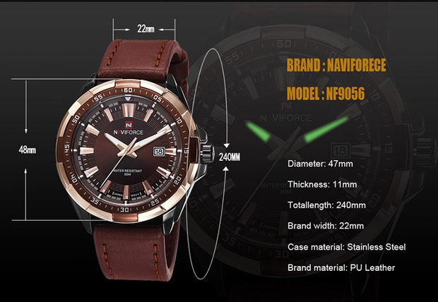 NAVIFORCE Luxury Leather Watch - The Modern Travelers Store