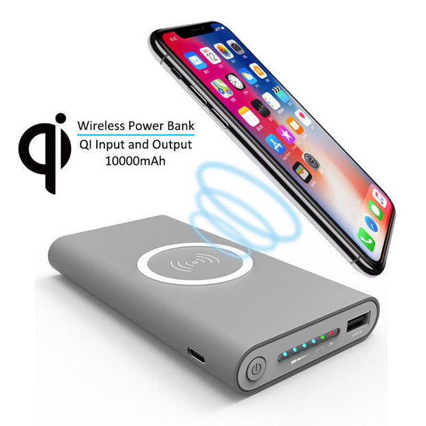 10,000 mAh Portable Power Bank With Wireless Charging