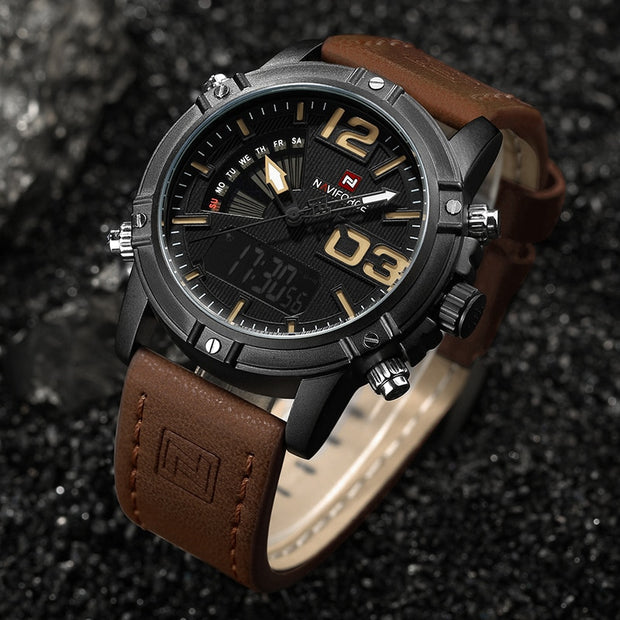 NaviForce Luxury Sportsman Watch w/ Leather Band - The Modern Travelers Store