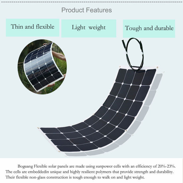 2 PCS 100W High-efficiency photovoltaic flexible solar panel