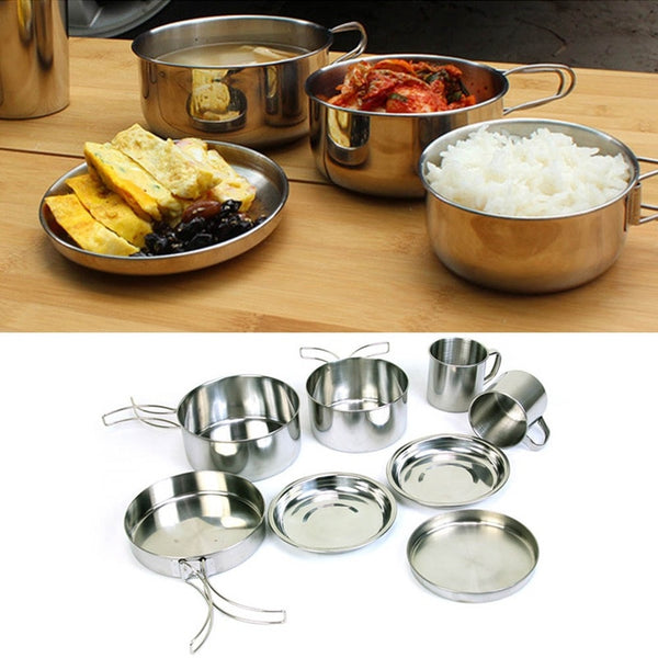 8 Piece Stainless Steel Cookware Set - Perfect for Camping, Backpacking & Hiking!