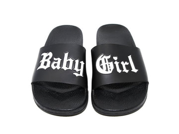 Baby Girl Slides - Black