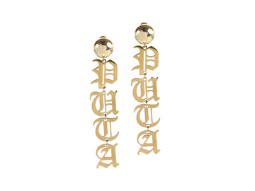 Palabra Earrings: Puta - Gold