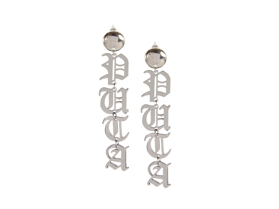 Palabra Earrings: Puta - Silver
