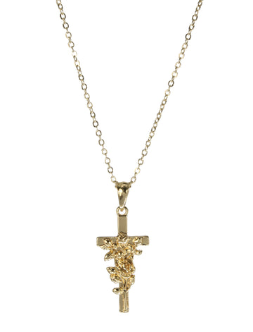 Gold Rose Cross Necklace