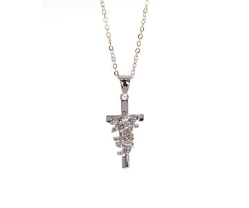 Rose Cross Necklace - Silver