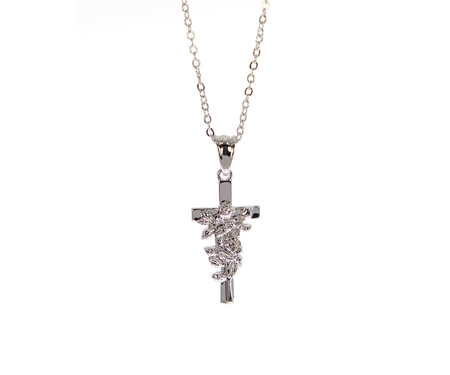 Silver Rose Cross Necklace