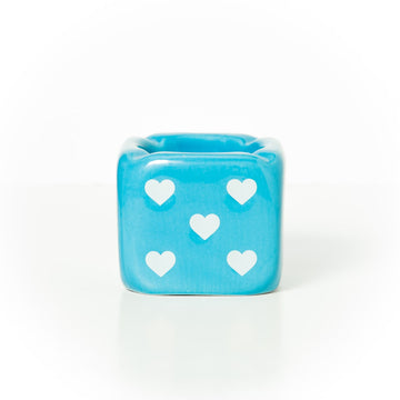 Take All Your Chances Heart Dice Ashtray – Baby Blue