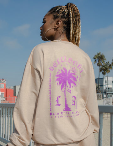 Palm Tree Dreams Sweater - Purple/Pink