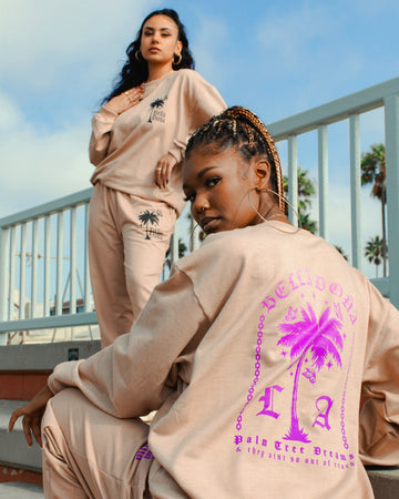 Palm Tree Dreams Sweats - Purple/Pink