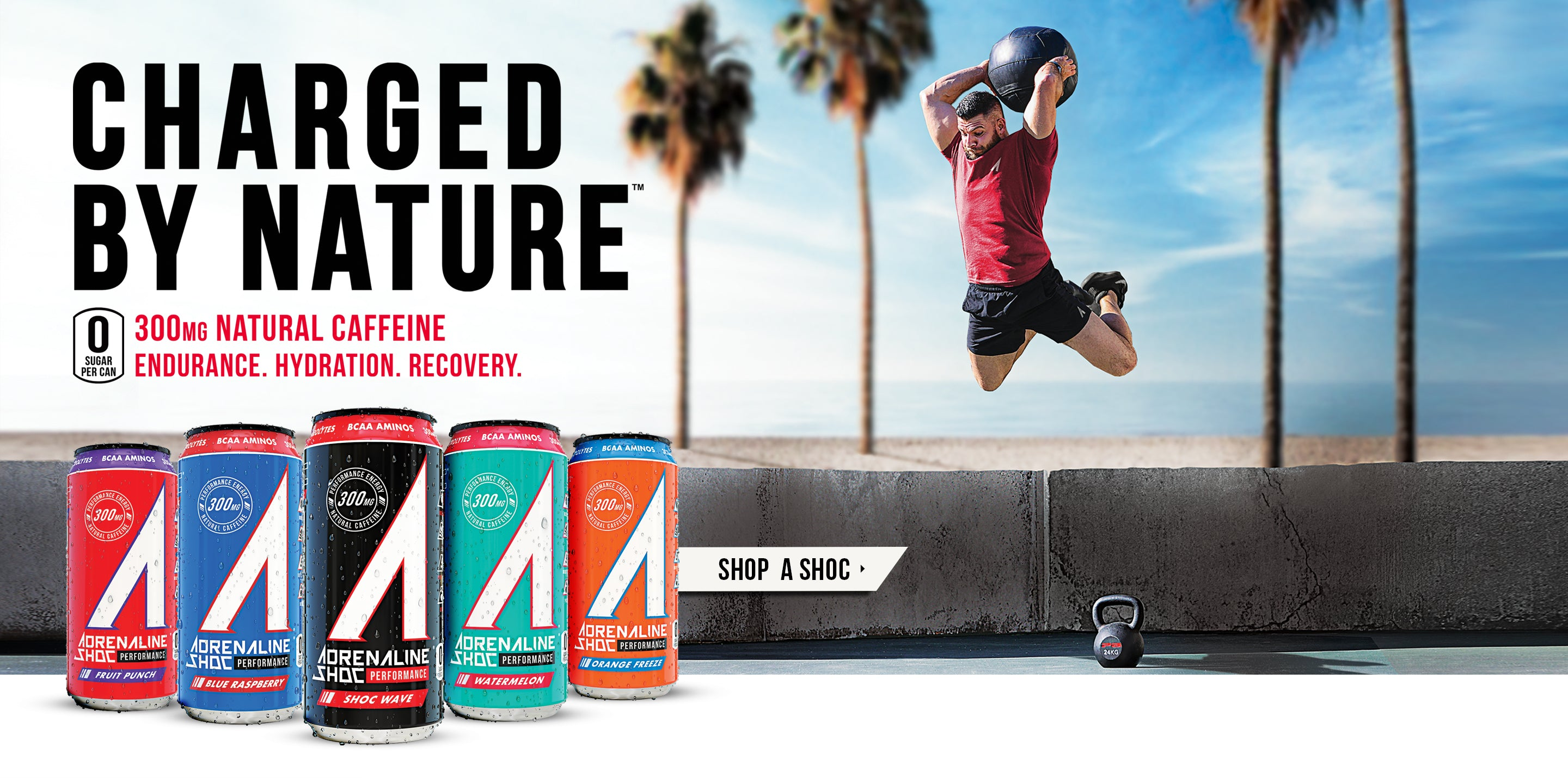 Charged by nature. 300mg of natural caffeine. Endurance. Hydration. Recovery.