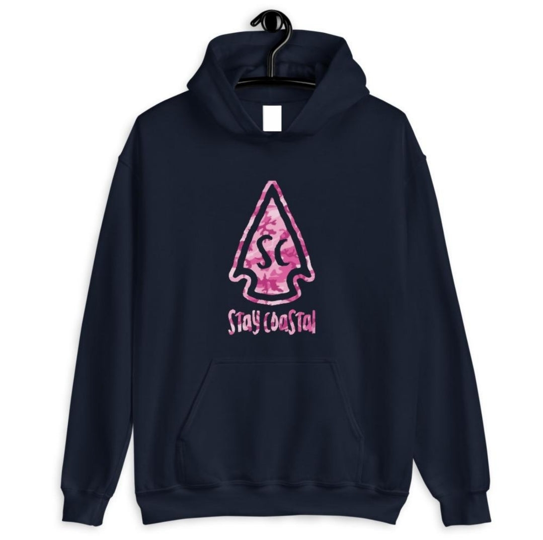 Women's Pink Camo Arrowhead Hoodie - Stay Coastal