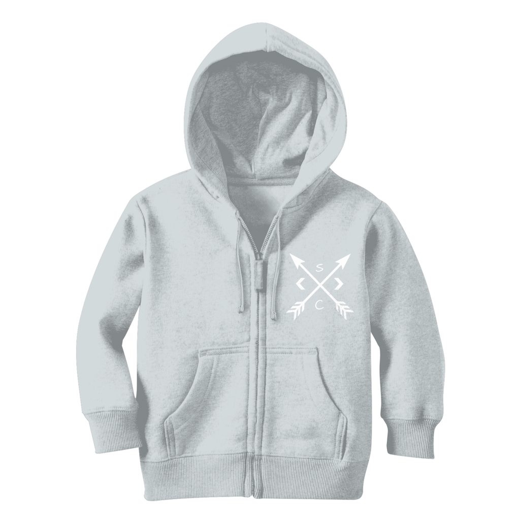 Youth White Compass Zip Hoodie