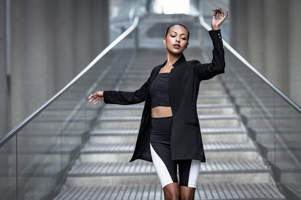 Black Stretch Blazer, Black Bike Shorts with White Stripes, Black Square Neck Crop Sports Top