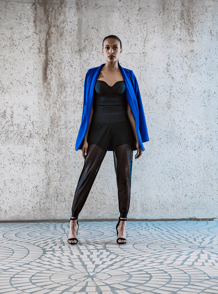 Sapphire Blue Stretch Blazer, Black V Short Yoga Pant with Mesh, Black Bustier Sport Bra Top
