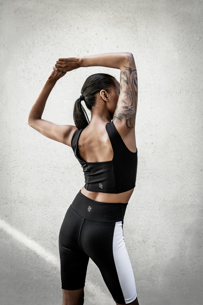Black Yoga Square Neck Crop Top, Black Bike Shorts with White Stripe