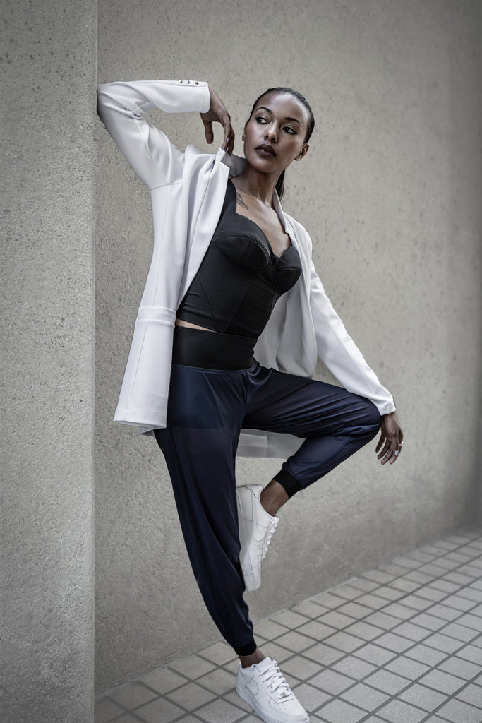 White Stretch Blazer, Black Bustier Sports Bra Top, Navy Blue Mesh Yoga Pants