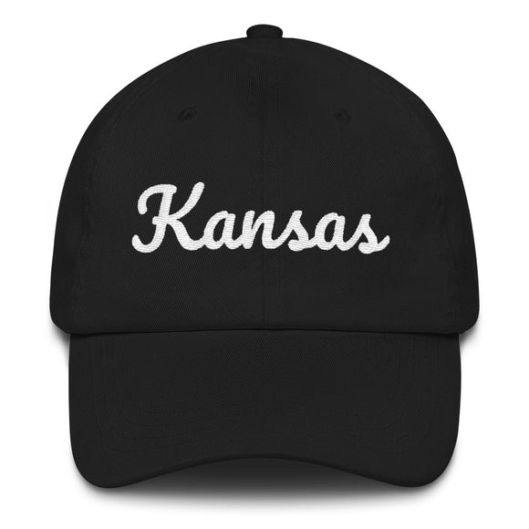 Cursive Kansas Hat - Black