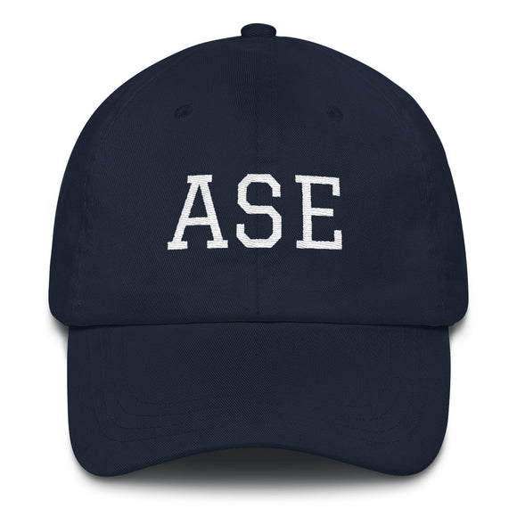Aspen ASE Airport Code Dad Hat - Navy