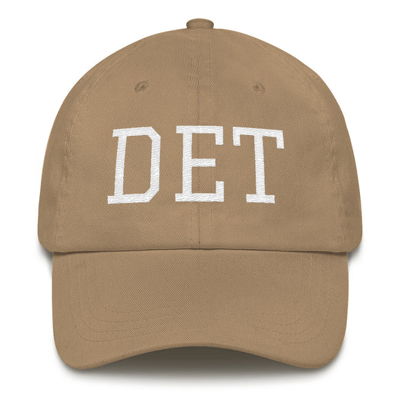 Detroit Michigan DET Airport Code Hat - Khaki