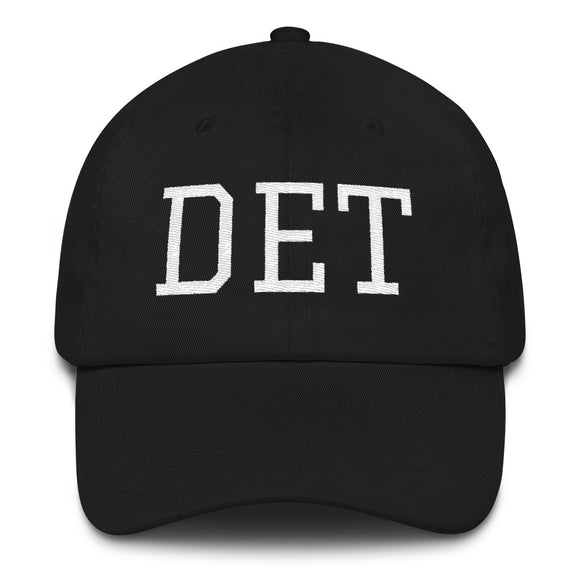 Detroit Michigan DET Airport Code Hat - Black