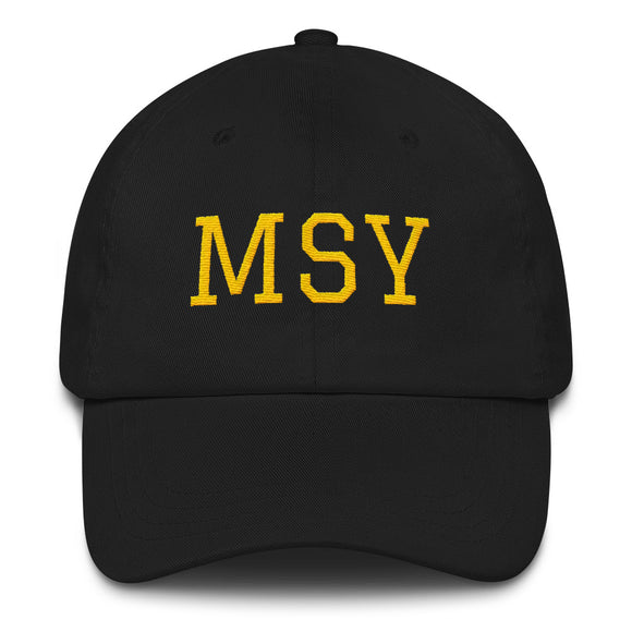 New Orleans MSY Airport Code Hat  - Black