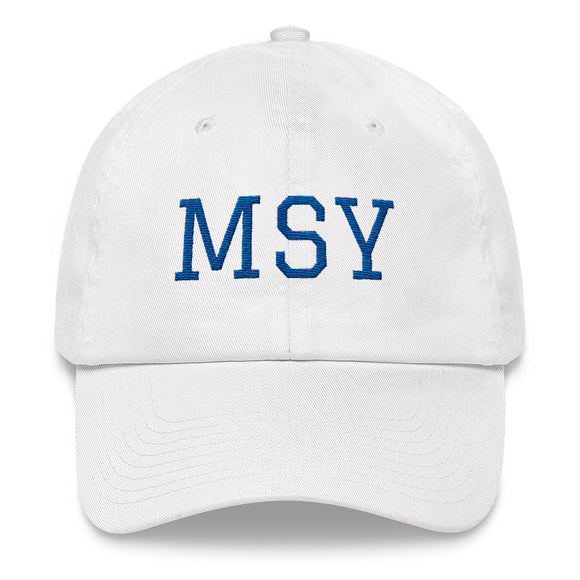 New Orleans MSY Airport Code Hat  - White