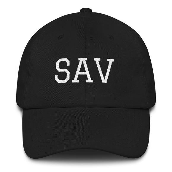 Savannah SAV Airport Code Hat - Black