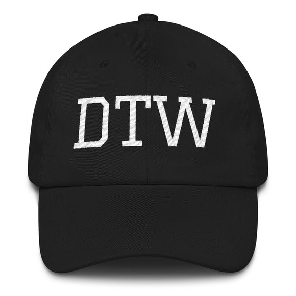 Detroit DTW Airport Code Hat - Black