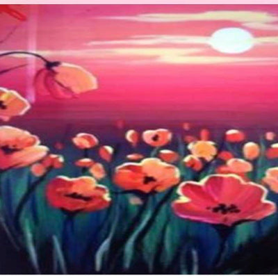 "Art class Melbourne Monday October 28 ""Poppy Fields""."