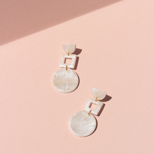 Square Drop Dangles in Mother of Pearl