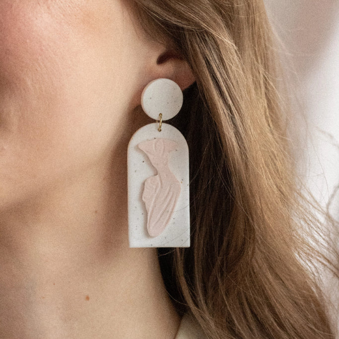 Lady in Speckled White and Shell Pink