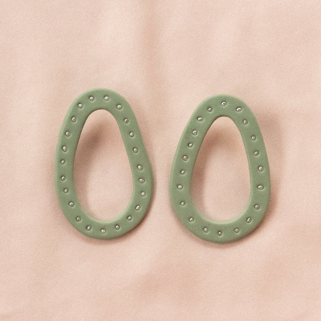 Ellipse Hoops in Pearl Studded Celadon