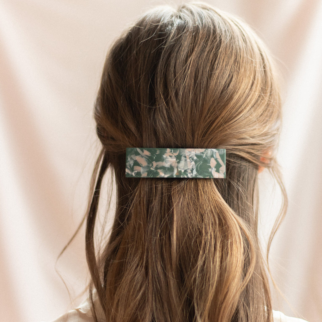 Cora Rectangle Barrette in Jadeite - Regular